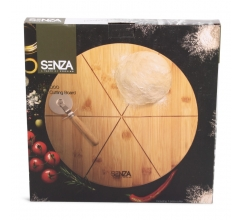 SENZA Bamboo Pizza Cutting Plate with Slicer bedrukken
